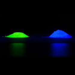 Under UV light, the phosphor emits either green-yellow or blue light.
