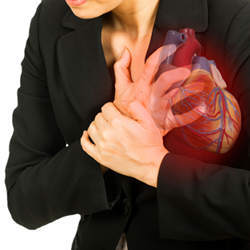 A woman experiencing a heart attack.