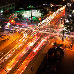 Long-exposure image of traffic in downtown Ann Arbor, MI.