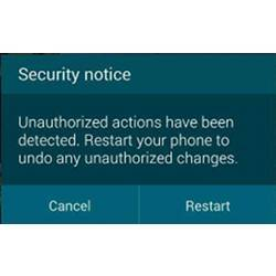 A phone-based security warning.