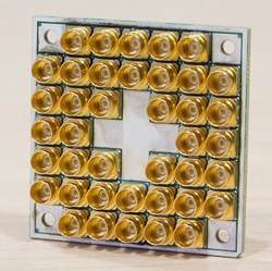 Intel has created 49- and 17-qubit (shown here) superconducting test chips for quantum computing.