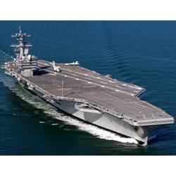 A U.S. Navy aircraft carrier.