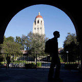 student on Stanford University campus