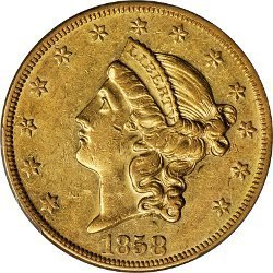 1858 Liberty Head gold coin