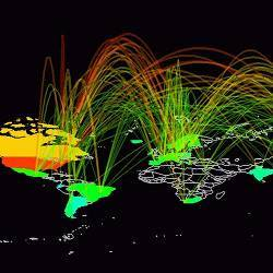 A visualization of Internet traffic.