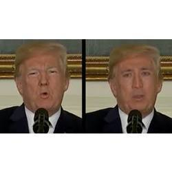 This deepfake converts President Trump's face to that of actor Nicholas Cage.