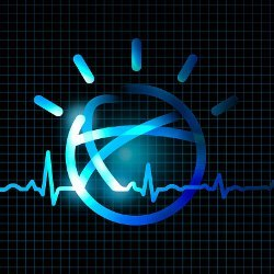 IBM Watson logo and heart rate graph, illustration