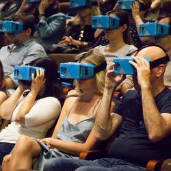 The audience at an augmented live theater performance.