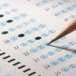 Taking a multiple choice exam.