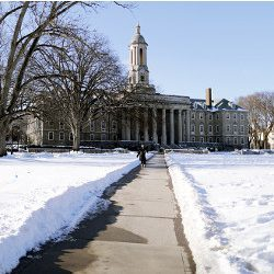 Penn State campus with snow