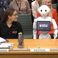 Middlesex University's Pepper robot addressing Ministers of Parliament.