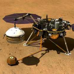 An artist's illustration of the InSight Mars lander using its robotic arm to cover a seismometer instrument with a wind and thermal shield.