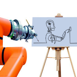 robotic arm painting a canvas