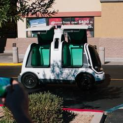Nuro's self-driving grocery delivery vehicle.
