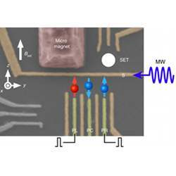 Hybrid of a two-qubit logic gate for single-spin qubits and a singlet-triplet qubit, realized in a triple quantum dot.