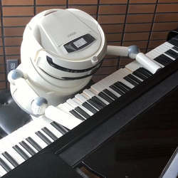 The hotel's rpiano-playing robot.