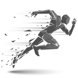 geometric man sprinting, illustration
