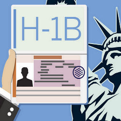 H-1B visa with Statue of Liberty in background, illustration