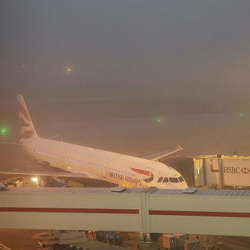 A foggy day at London's Heathrow Airport.