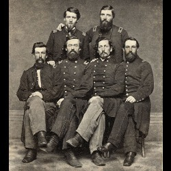 six Civil War-era soldiers in uniform