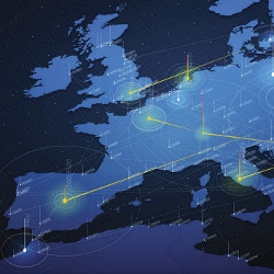 communication connections on map of Europe, illustration