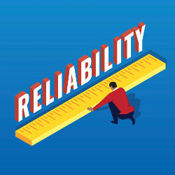 man with giant ruler measuring the word 'Reliability,' illustration