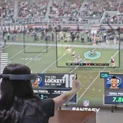 An image from a Microsoft concept video showing how you might one day watch sports with a virtual reality headset..