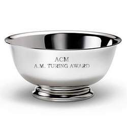 The silver bowl presented to recipients of the ACM A.M. Turing Award.