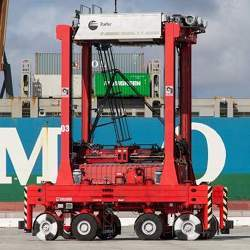 Fully automated AutoStrads move shipping containers at the Port of Los Angeles.