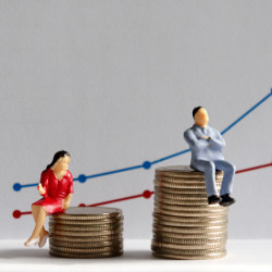 woman and man sitting on stacks of coins showing pay gap, illustration