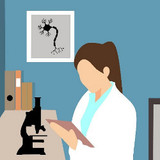 woman scientist, illustration