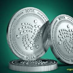 Coins of the IOTA cryptocurrency.