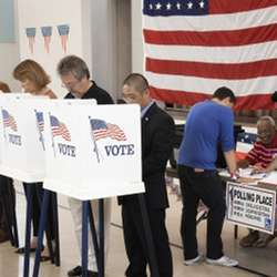 An active polling place during an election.