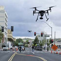 Drones above Lake Street in downtown Reno, NV.