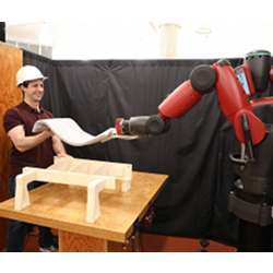 The robot mirrors the user's movements by monitoring muscle activity.
