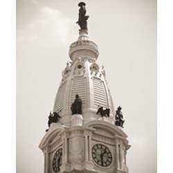 The Philadelphia Courthouse clock tower.