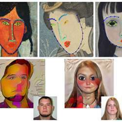 The top row shows landmark detection results on portraits of different styles; the bottom row shows the results of style transfers to portaits.