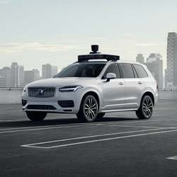 The Volvo XC90 SUV awaits a delivery drone.