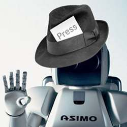 Artist's conception of a robot journalist.