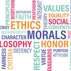 An ethics word cloud.