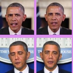 Actual photos of former U.S. President Barack Obama (top row), and deepfakes.