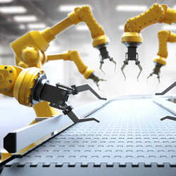 Robots on the manufacturing line.