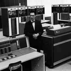 Fernando Corbato in the Massachusetts Institute of Technology computer lab.