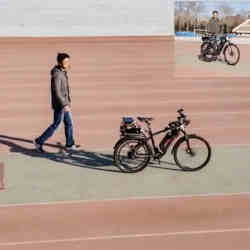 A frame taken from a video by researchers in China shows the self-driving bicycle in action.