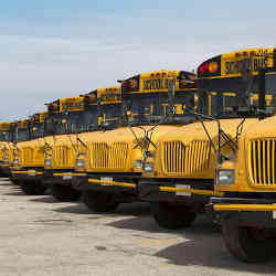 Part of Boston's school bus fleet.
