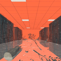 flooded data center, illustration