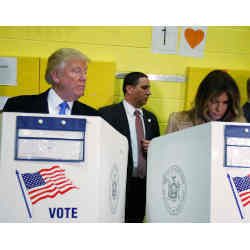 U.S. President Donald J. Trump and First Lady Melania Trump voting.