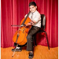 boy with a prosthetic limb plays the cello