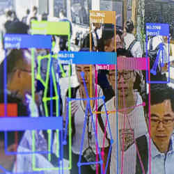Facial recognition technology being demonstrated at an artificial-intelligence conference in Shanghai.