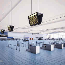 There are no lines (queues) in Cranfield University's virtual airport envornment.